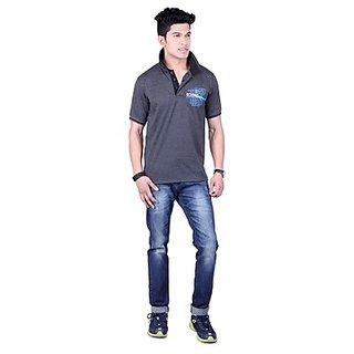 DEUTZ Black Blended Regular Mens T-Shirt (818)