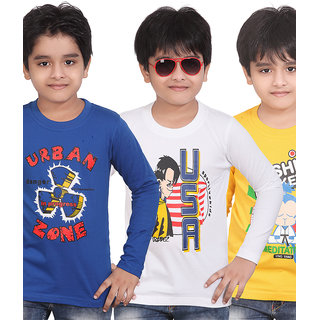 DONGLI BOYS PRINTED FULL SLEEVE T-SHIRT ( PACK OF 3 )-DLF432-RBLUE-GY-WHITE