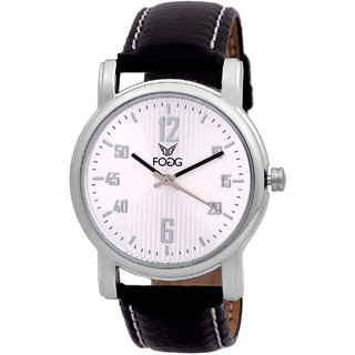 Fogg Fashion Store Round Dial Black Leather Strap Quartz Watch For Men