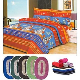 iLiv combo - 1 double bedsheet + 2 face towels + 2 door mats