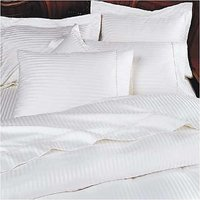 Stripe Queen Size 300TC Flat Sheet + 2 Pillow Covers In White Color