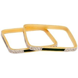 Reva's Square Shape Gold Plated Diamond Studded Bangle set for women