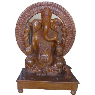BIG Ganpati Bappa Giving Blessing in Sitting Position.This is pure Teak wood Product which gives traditional look to Your Interior.