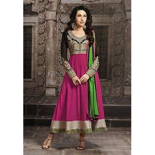 Varanga PinkBlack georgette anarkali semi stitched Salwar Kameez KFETS10009D