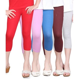 SINIMINI GIRLS TIGHTS CAPRI (PACK OF 5 )-SMTC2005_RED_LILAC_LRBLUE_WM_MAROON