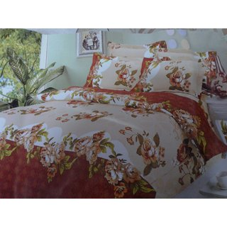 abstract printed double bedsheet with 2 pillow cover