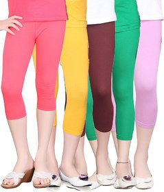 SINIMINI GIRLS TIGHTS CAPRI (PACK OF 5 )-SMTC2005_TPINK_GY_MAROON_GREEN_LILAC