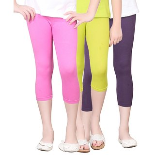 SINIMINI GIRLS TIGHTS CAPRI (PACK OF 3 )-SMTC2005HPINKMEGANDIVIOLET