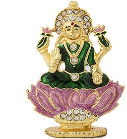 Gold Plated Lotus Lakshmi Idol