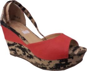 Steppings Women's Brown & Red Wedges