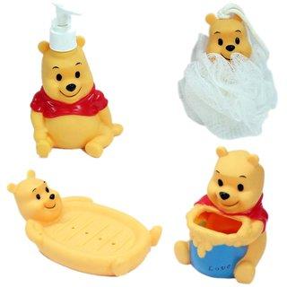 Cartoon Character Style Kids Bathroom Set Soap Dispenser Loofah Toothbrush Stand