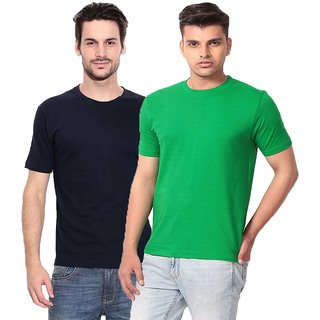 Pack of 2  Round Neck 100% Cotton Purple Square T-Shirt