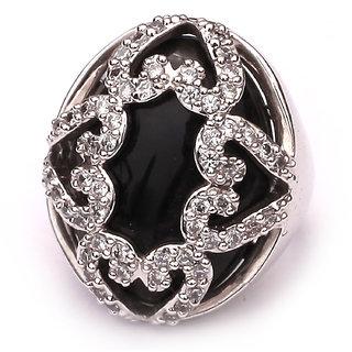 Eminence Black Stone Brass Cocktail Fashion Ring