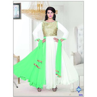 Bhavdatt Dark Green And White Party Were Anarkali Suit