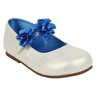 Pearl White & Blue Ballerinas for Girls by Happy Cloud