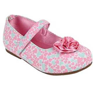 Pink printed Heart Ballerinas for Girls by Happy Cloud