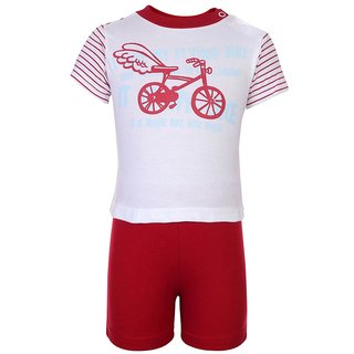 ZERO Red Cotton T Shirts & Shorts For Kids