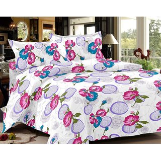 India Furnish 100 Cotton Satin Weave Flower Design Double Bedsheet Set with 2 Pillow Covers Purple  Pink Color