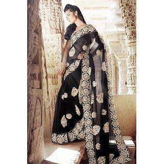 Designer Saree black chiffon saree with patch work