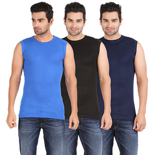 Zippy Men's Sporty Sleeveless Multi color Vest (Pack of 3)