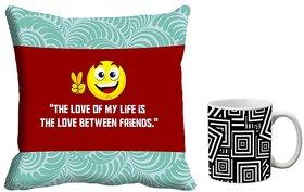 meSleep FriendShip Day Cushion Cover Mug Combo