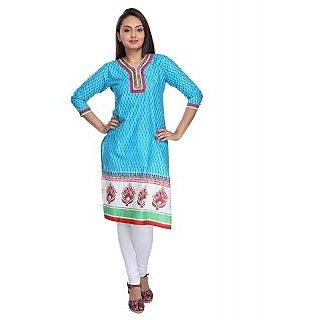 Vismit Awe-Inspiring Cotton Blue Designer Kurti For Women S - Xl