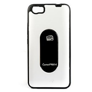 KMS Metal Logo Silicon Back Case cover For Micromax Canvas Fire 4 A107 White