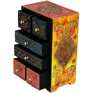 Six Drawer Embossed Wooden Box (FRH209)