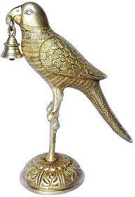 An Attractive Brass Art Ware Statue Of A Parrot With A Bell By Aakrati