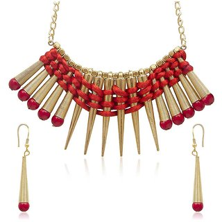 Urthn Gorgeous Design Red Necklace Set - 1104728