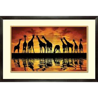 MATAYE GRAPHICS Giraffe Designer Painting with Frame (17 inch x 25 inch)