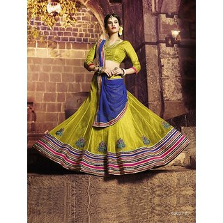 Pale Yellow colour Net Embroidered Designer Lehenga