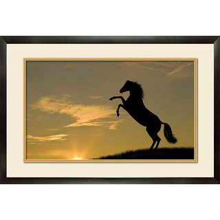 MATAYE GRAPHICS Black Horse Designer Painting with Frame (17 inch x 25 inch)