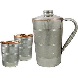 Copper tumblers and jug set