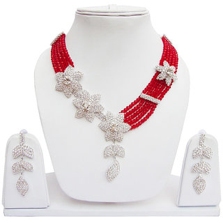 Beautiful Necklace Set Red And Off White