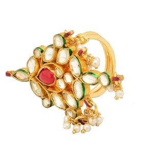 Reva's Rajwadi look Multicolor Kundan studded Ring for Women