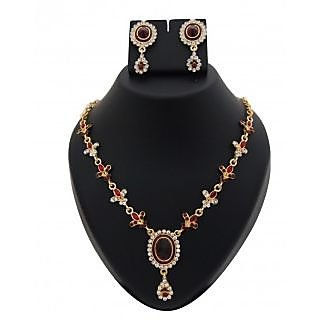 14Fashions Red Kundan Necklace Set - 1100201