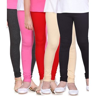 SINIMINI GIRLS  LEGGINGS ( PACK OF 5 ) -SML1505_AM_MPINK_RED_BEIGE_BLACK