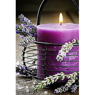 Lavender 1 Pillar Scented Aroma Candle 2.75 Wide  5 Inches High