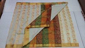 art silk Multicolor Linen Self Design Saree With Blouse