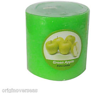 Green Apple 1 Pillar 2.5 Wide  2.5 High Inches Scented Candle