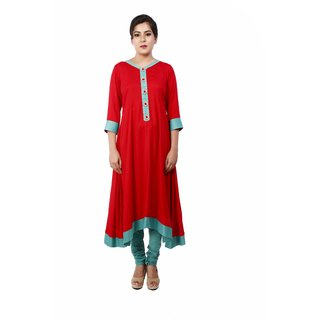 Designer Net And Brasso Readymade Anarkali Suit Red