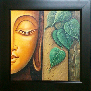 Hand Made Abstract Budha with Tree on Canvas 15 Inch x 15 inch