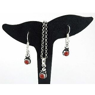 Miska Silver Redsilver Plated Coral Piece Set For Women (G3SCB-0060)