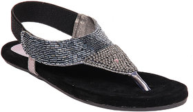 Do Bhai Women's Black Sandals