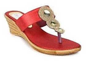 Do Bhai Women's Red & Gold Wedges
