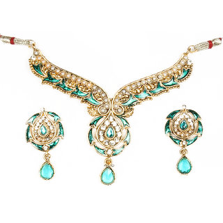 14Fashions Classic Design Blue Choker Necklace Set - 1100410