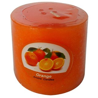 Orange 1 Pillar 2.5 inches Wide  2.5 Inches High Scented Candle