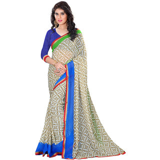 Lookslady Beige & Blue Georgette Printed Saree With Blouse