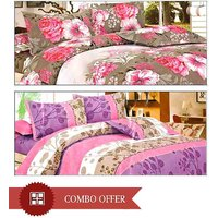 Arshiya Imported Set Of 2 Bedsheets & 4 Pillow Covers - Cotton Blends